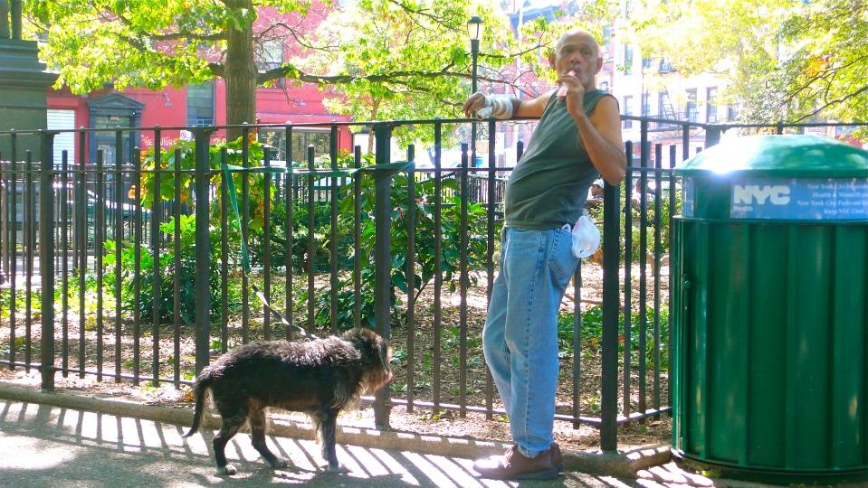Man, dog, Tompkins Square, New york City