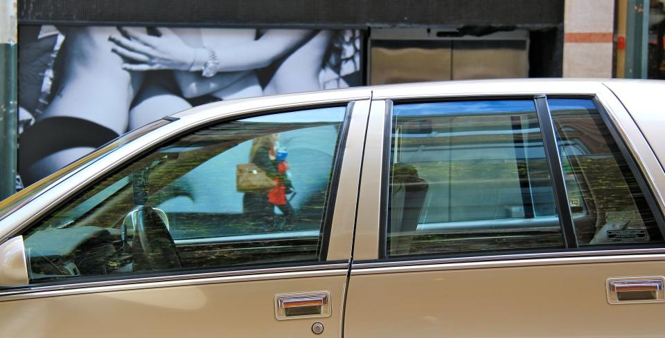 car window through to shop window