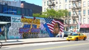 Flag waving street art with Obama