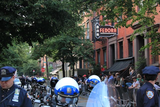 NYPD cops outside Fedora Restaurant Greenwich Village