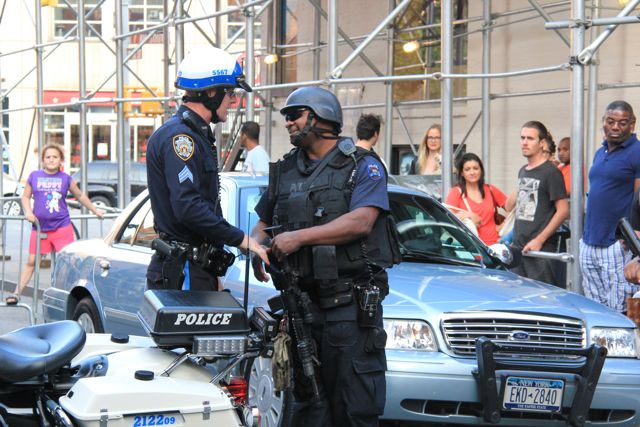 Street scene with NYPD special forces