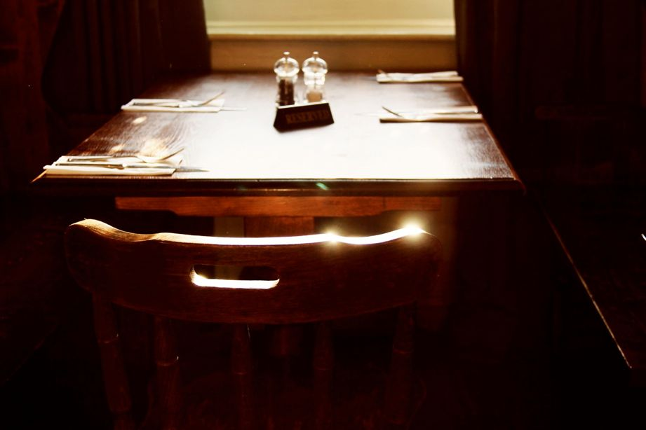 table and chair in light