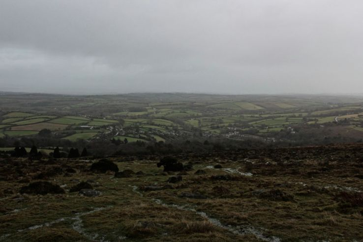 View of Sticklepath from Dartmoor bad weather