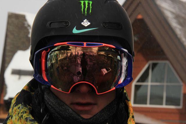 Close up Dew Tour competitor in sun visor