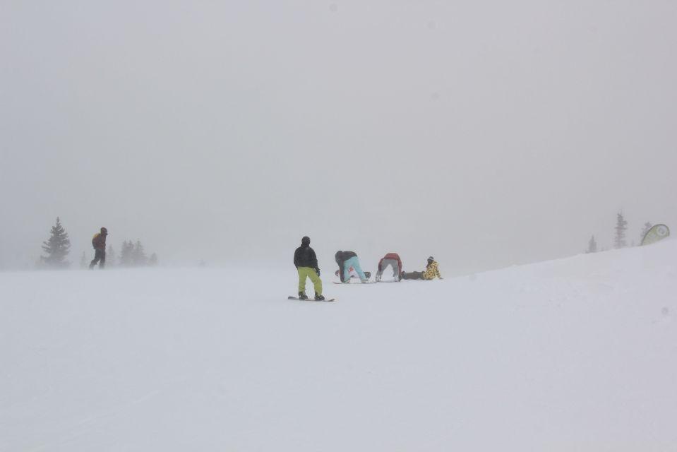 snow boarders on horizon