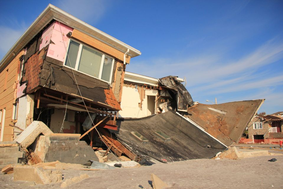 Collapsed house on Rockaway Beach