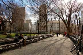 Union Sq NYC afternoon winter sunshine