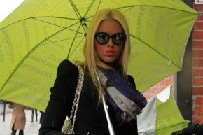 Girl with sunglasses and bright green umbrella New York Fashion Week Feb 2013