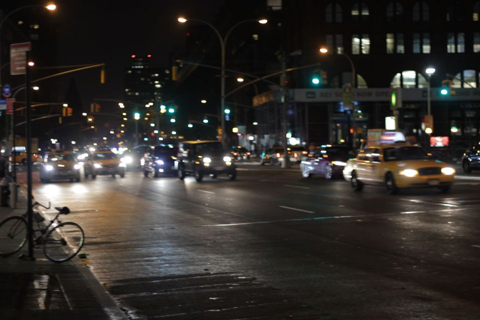 Traffic at night in new york street