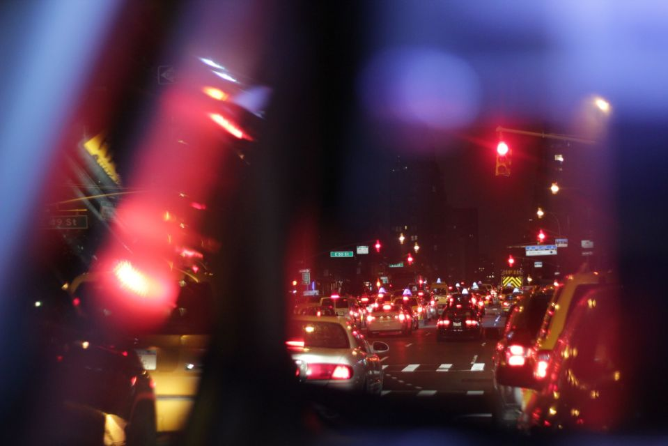 Blue and red lights in new york street at night