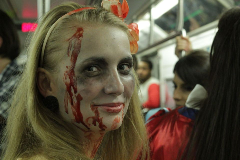 Blood and bruises on the train