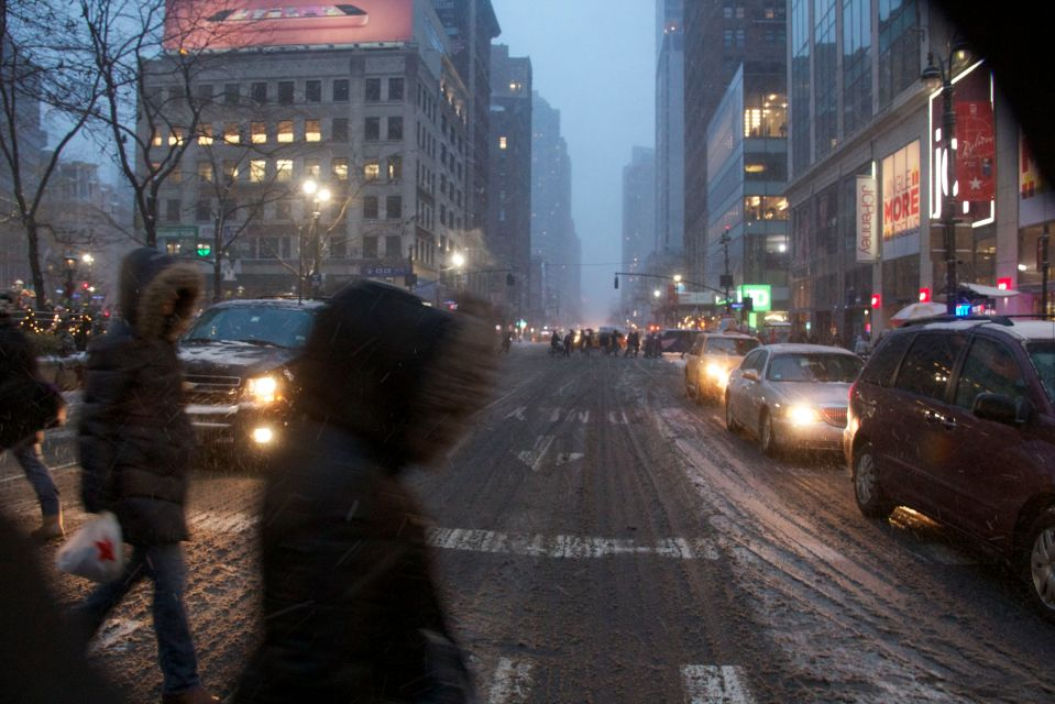 Road crossing in snow