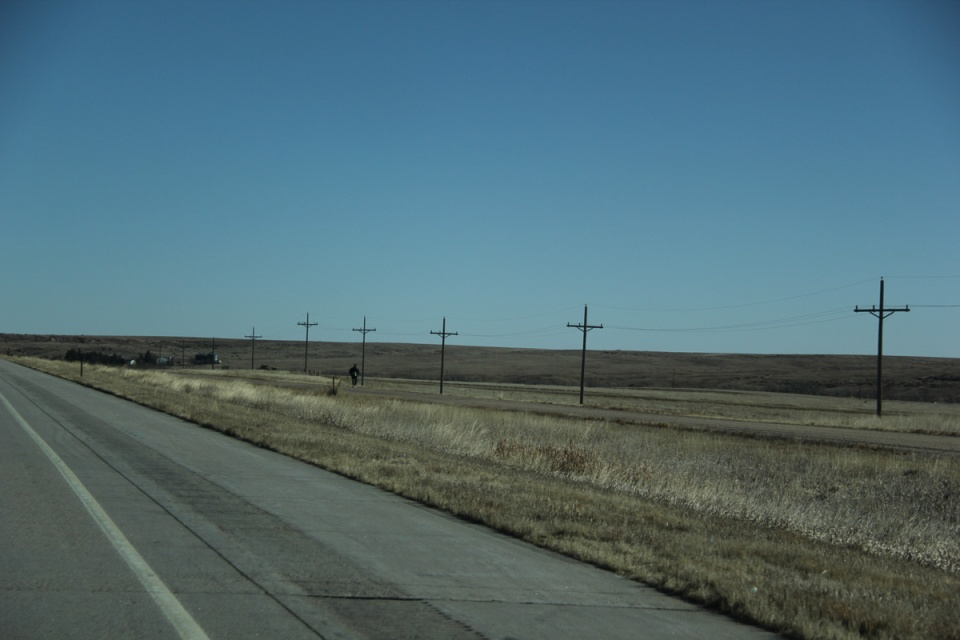 Lone person walking Kansas