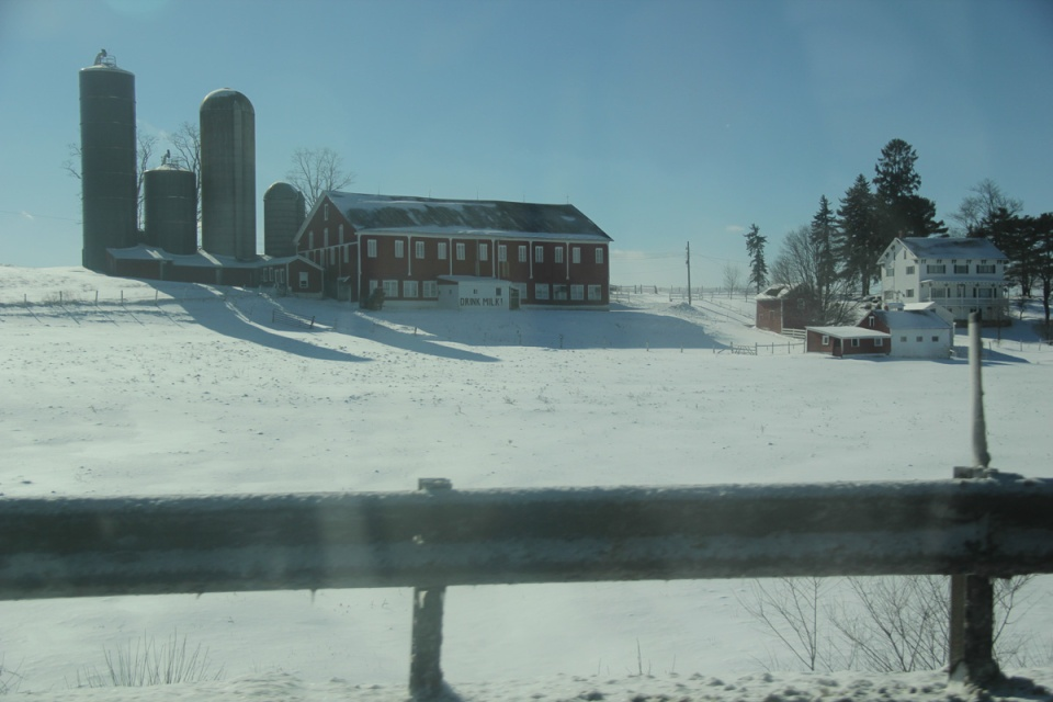 Farm in snow in Pennsylvania