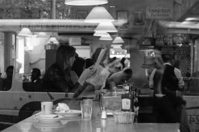 New York City diner reflection