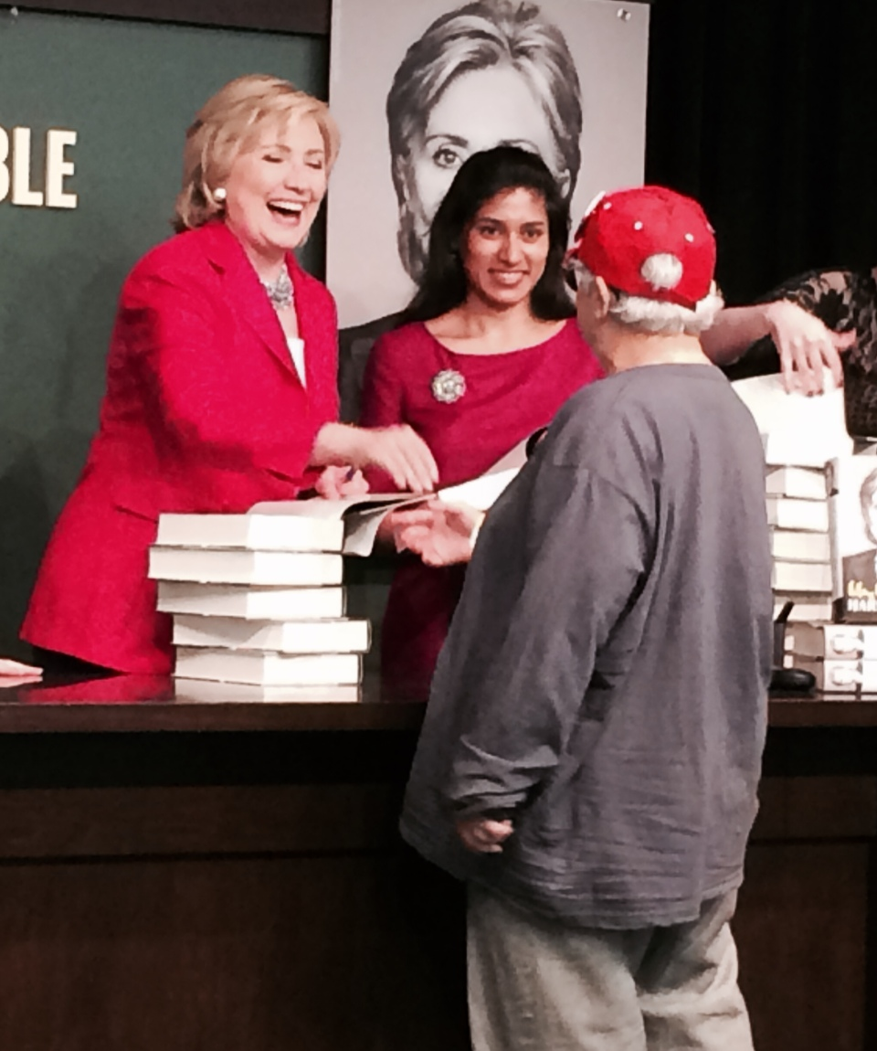 Hillary Clinton Hard Choices in red suit book launch