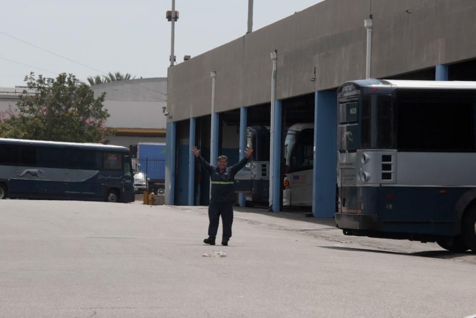 Greyhound bus parking