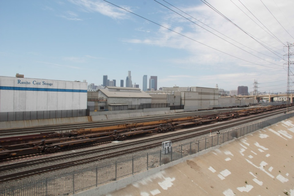 LA River tracks and skyline