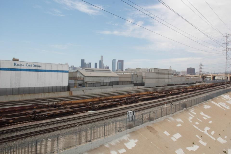 LA River tracks and skyline
