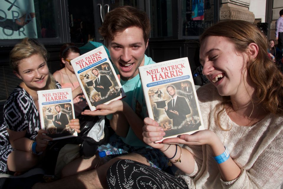 Fans with Neil Patrick Harris's new book