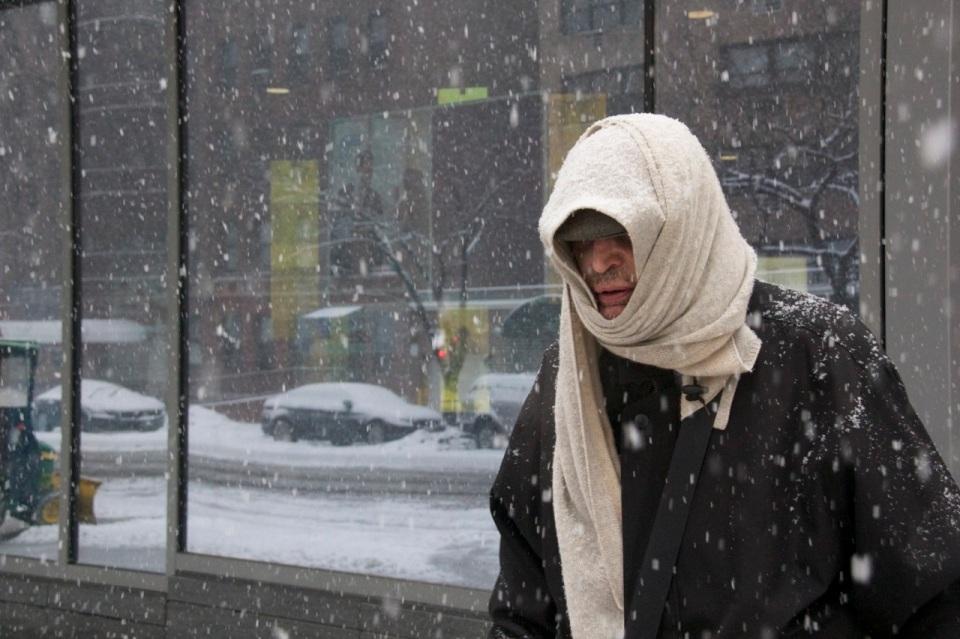 Pedestrian with scarf