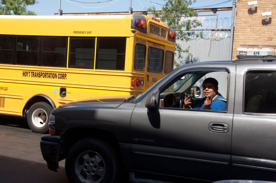 Car driver waving, hunts Point, the bronx