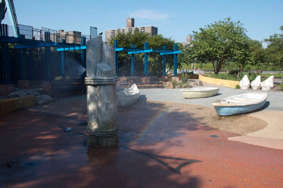 Boat water feature in park, hunts point, the bronx