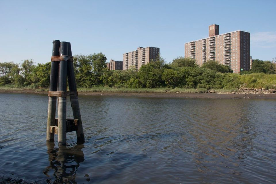 River and projects from park, hunt's point, the bronx