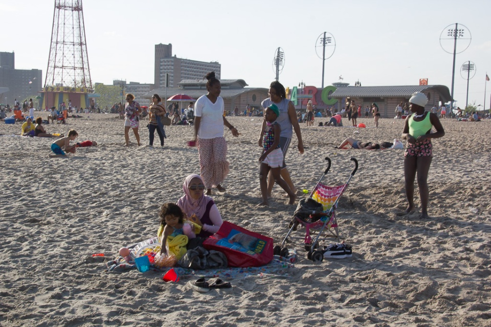 Family on Coney Beach