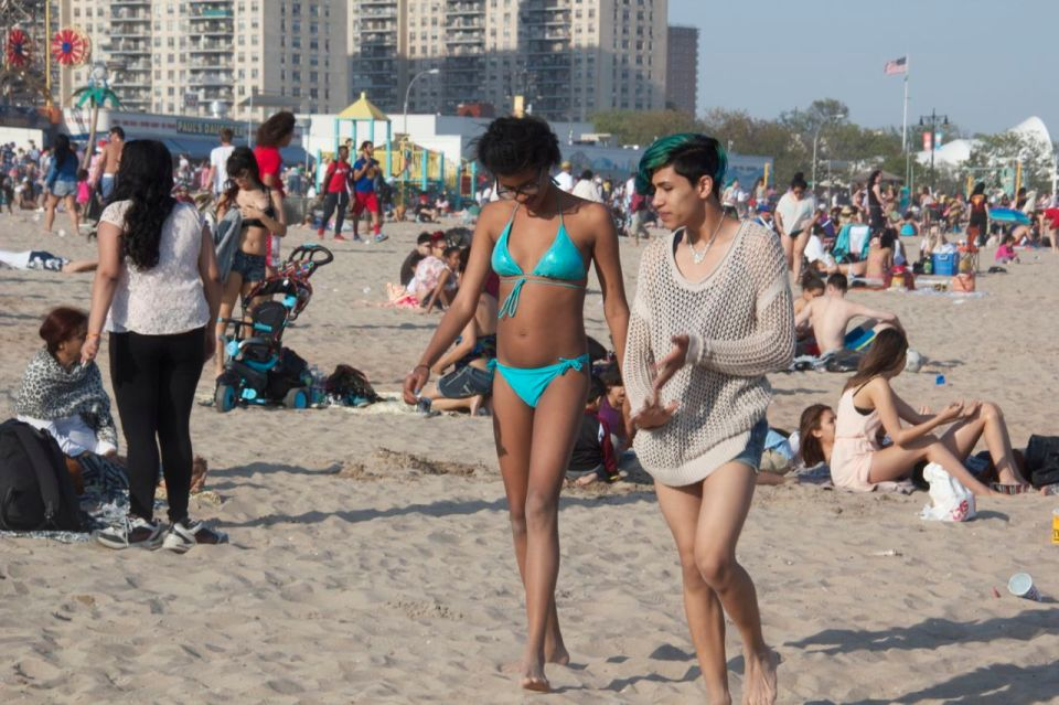 Girl in green bikini, boy with green hair, Coney Island