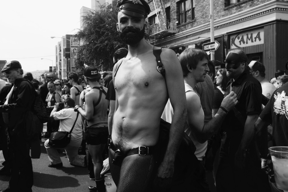 Man in leather and tights at Folsom Street Fair