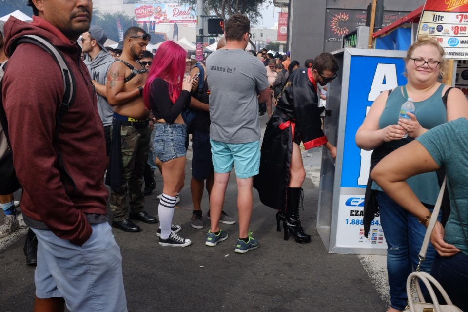 People in line at Folsom Street Fair cash machine