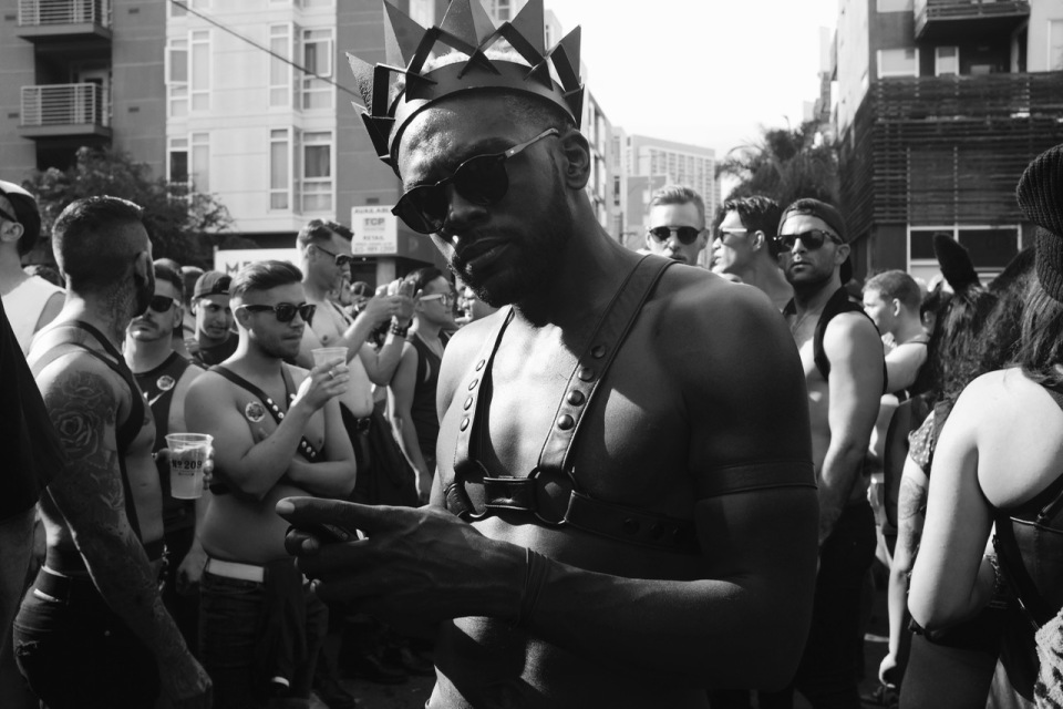 Man wearing crown at Folsom St Fair