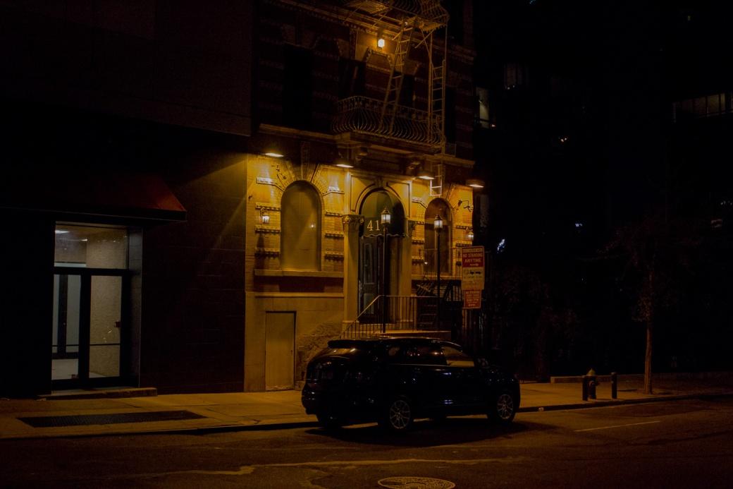 Dark street with night lights
