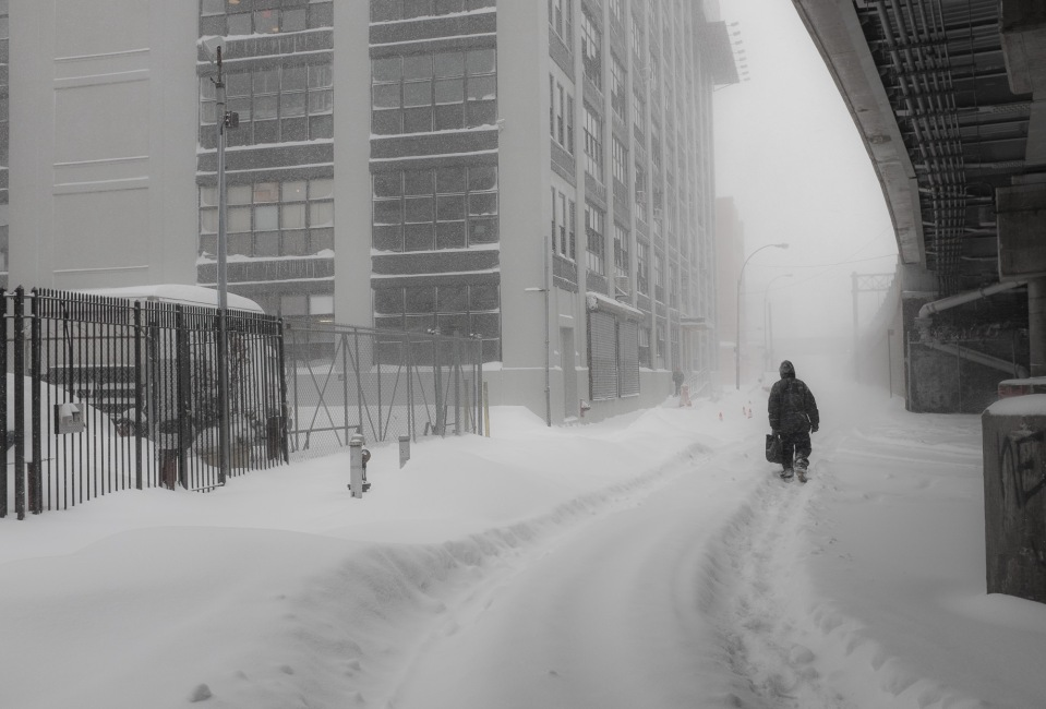Man in Blizzard