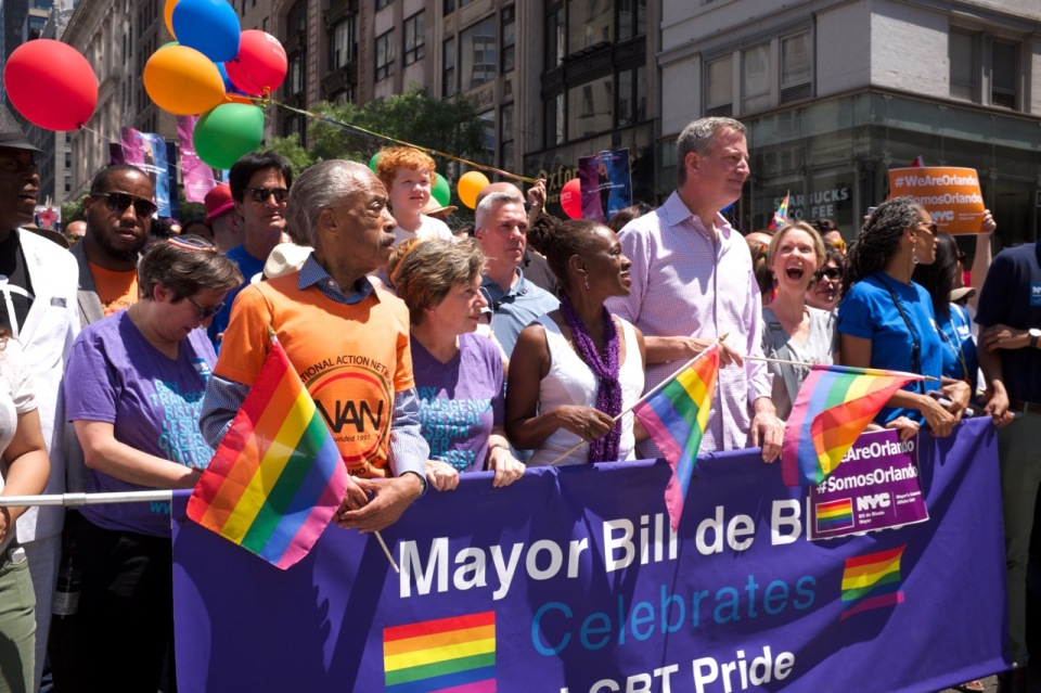 City Hall Gay Pride 2016 marchers Al Sharpton, Bill de Blasio, Chirlene McCray