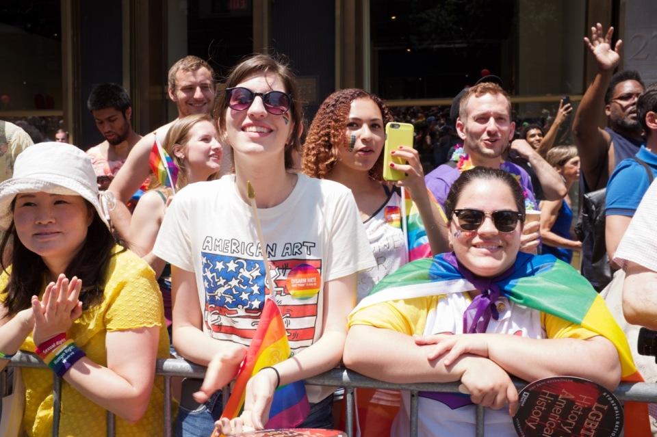 People in crowd at NYC pride 2016