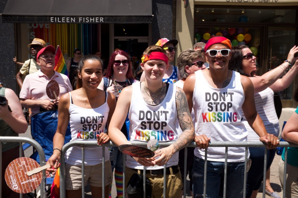 Don't stop kissing t-shirts in NYC pride 2016 crowd