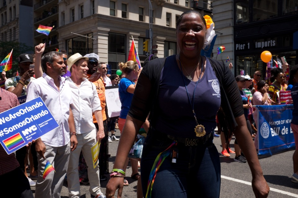 City Hall worker in nyc pride 2016 march