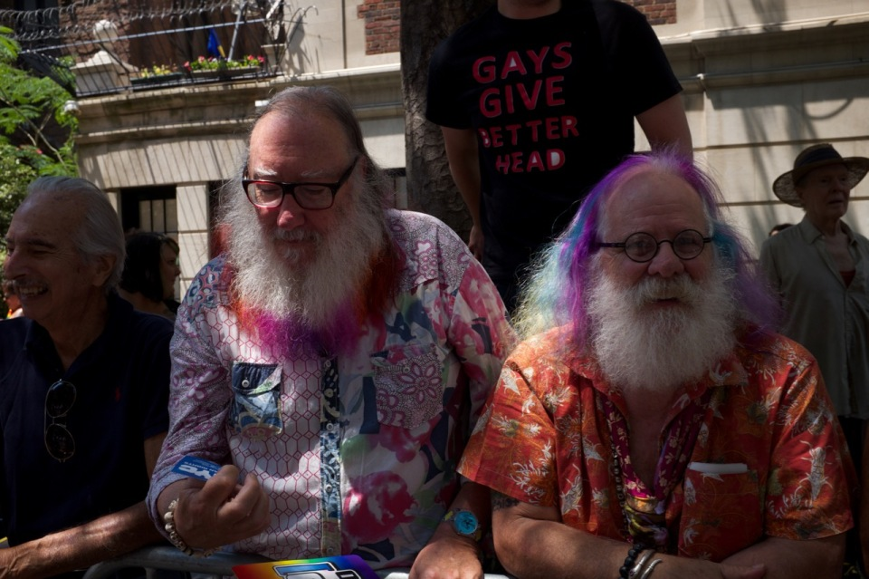 Older men grizzlies with colourful beards NYC pride 2016