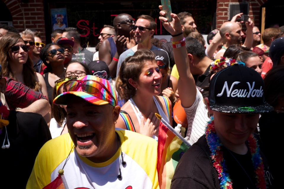 Crowd outside Stonewall Inn NYC pride 2016