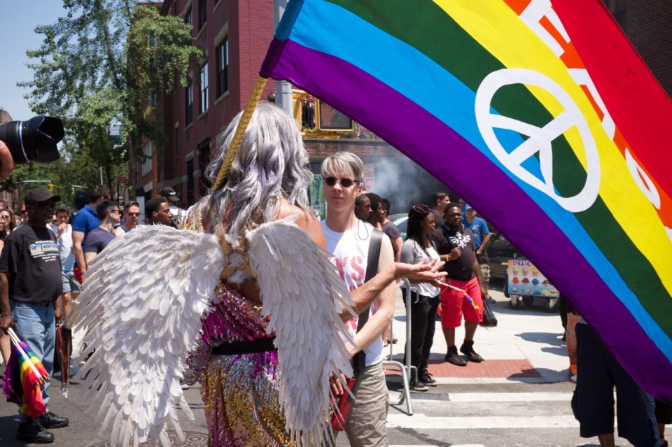 NYC Pride 2016 Angel with wings and Peace flag